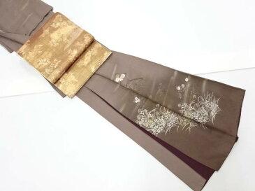 箔置蛇籠に秋草模様刺繍訪問着 袋帯・和装小物セット【リサイクル】【中古】