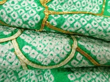 本総絞り菊に梅・青海波模様刺繍振袖【リサイクル】【中古】