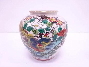 九谷焼 秀波造 色絵孔雀牡丹花瓶【1819OFF】【バーゲン】