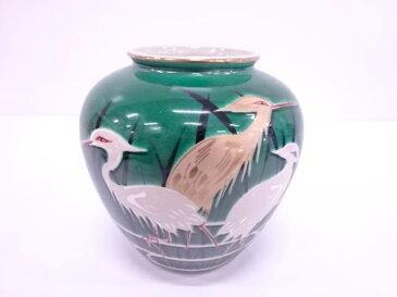 九谷焼 正峰造 色絵鷺花瓶【1819OFF】【バーゲン】