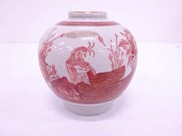 九谷焼 美泉造 金彩赤絵孔雀に牡丹小花瓶【1819OFF】【バーゲン】
