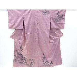 Hand-woven tree pattern hand-woven cotton tsumugi kimono [Antique] [Used]