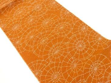 手織り紬番傘模様織り出し名古屋帯【リサイクル】【中古】