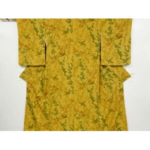 Hand-painted branch plums and chrysanthemum maple bird small pattern kimono [Recycle] [Used]