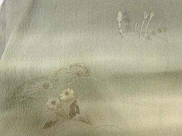 波車に土筆・草花模様刺繍ぼかし名古屋帯【アンティーク】【中古】