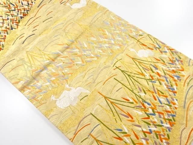 未使用品 本金箔網干に白鷺模様織出袋帯【リサイクル】【中古】