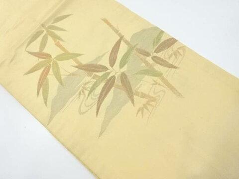 竹笹模様織り出し名古屋帯【リサイクル】【中古】