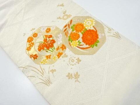 鏡裏に菊・菖蒲模様織り出し名古屋帯【リサイクル】【中古】