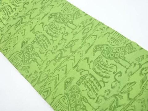 花更紗に向かい鳥模様織り出し名古屋帯【リサイクル】【中古】