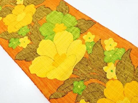 手織り真綿紬花模様織り出し名古屋帯【リサイクル】【中古】