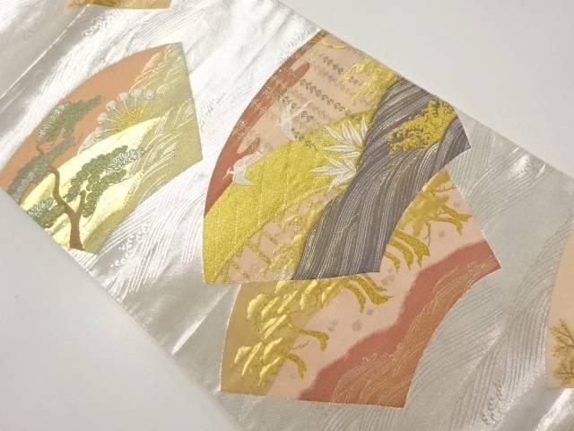 地紙に白鷺・槌車模様織り出し袋帯【リサイクル】【中古】