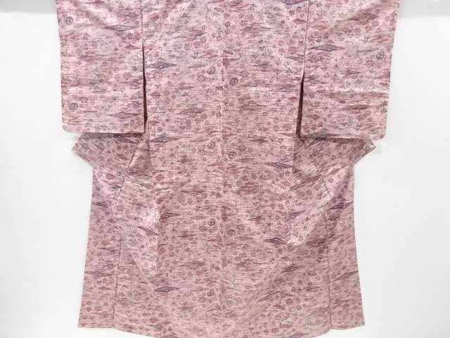 未使用品 抽象草木模様織り出し手織り節紬着物【リサイクル】【中古】