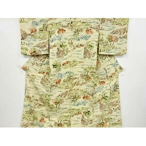 Cream hand-painted countryside landscape pattern Single clothing small pattern Kimono [Recycle] [Used]
