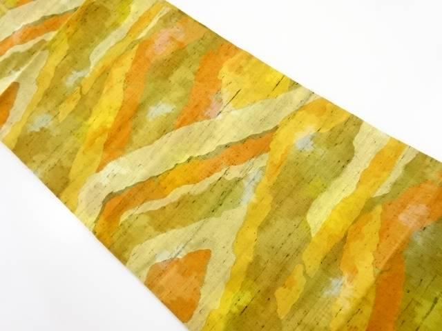 手織り節紬遠山模様織り出し名古屋帯【リサイクル】【中古】