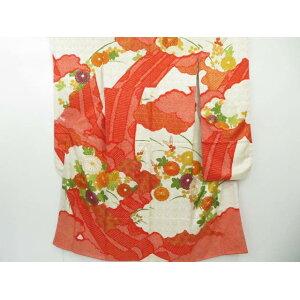 Kiso Yume with embroidered Kyo Yuzen hand-painted clouds, chrysanthemums and Hagibun Kimono [Taisho Roman] [Used]