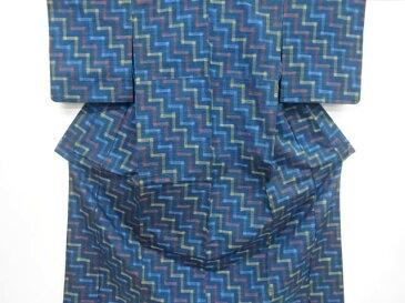 抽象模様織り出し手織り紬単衣着物【リサイクル】【中古】