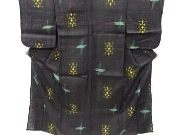 十字模様織り出し手織り紬単衣着物【アンティーク】【中古】