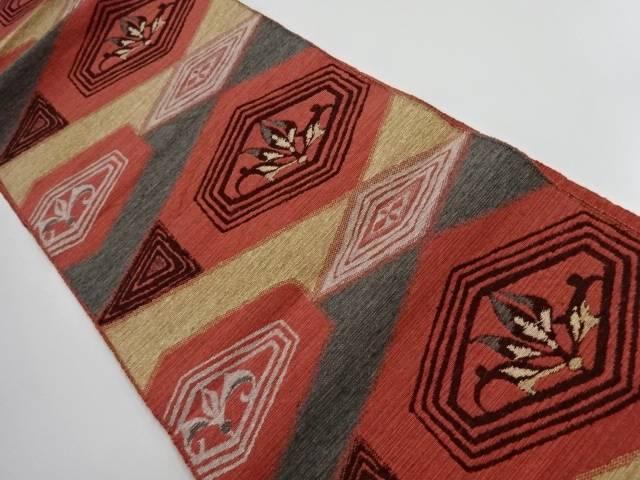 手織り紬亀甲に花模様織出し名古屋帯【リサイクル】【中古】