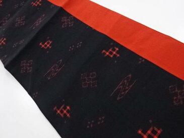 未使用品 手織り節紬切り嵌め絣柄織出し全通本袋帯【リサイクル】【中古】