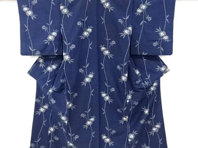 草花模様織り出し手織り真綿紬着物【リサイクル】【中古】