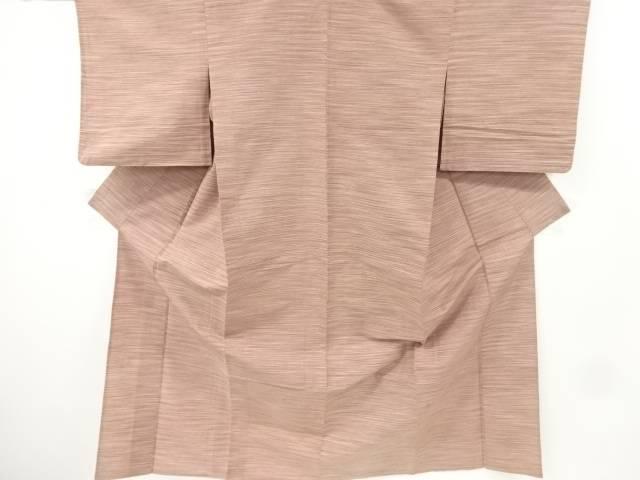 横段織り出し手織り紬単衣着物【アンティーク】【中古】