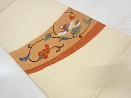 未使用品 鳥に葡萄唐草模様織出し袋帯【リサイクル】【中古】