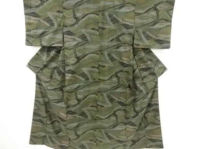 抽象模様織り出し手織り紬着物【リサイクル】【中古】