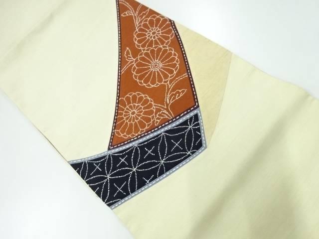 切り嵌め相良刺繍花唐草に七宝模様袋帯【リサイクル】【中古】