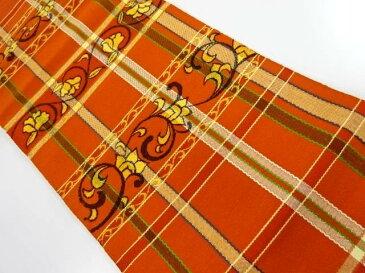 手織り真綿紬格子に花唐草模様織り出し名古屋帯【リサイクル】【中古】
