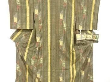 未使用品 仕立て上がり 吉澤与市作 絞り縞に花唐草模様手織り真綿紬着物