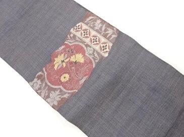 手織り紬唐花模様織出し名古屋帯【リサイクル】【中古】