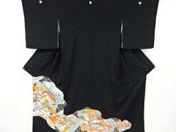 色紙に鶴・松竹梅模様刺繍留袖(比翼付き)【アンティーク】【中古】