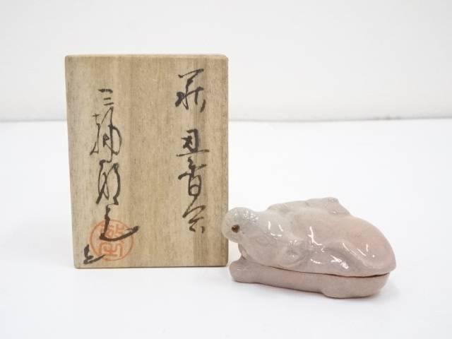 產品詳細資料,日本Yahoo代標 日本代購 日本批發-ibuy99 興趣、愛好 藝術品、古董、民間工藝品 其他 萩焼 三輪敏之造 干支丑香合(共箱)【中古】【道】