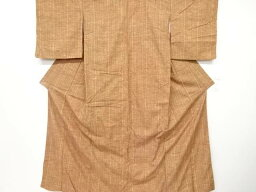 縞模様織り出し手織り真綿紬着物【リサイクル】【中古】