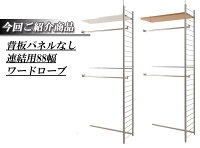 突っ張り壁面間仕切りワードローブ幅88cm連結用パネル無しタイプ