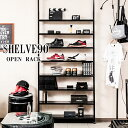 【Shelve】ブラックインテリア特集 黒  突っ張り薄型オープンラッ...