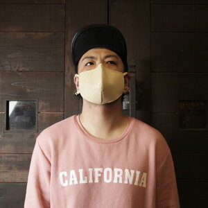 S'FACTORYエスファクトリー レザー カラスマスク パンチングレザー ベージュ メンズ 黒マスク カラスマスク フェイスマスク 本革 ロック パンク ゴシック 日本製