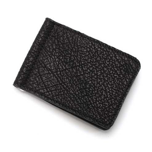 S'FACTORYエスファクトリー レザーマネークリップ シャーク(サメ革) 本革 札はさみ カード ケース 財布 メンズ シャークスキン