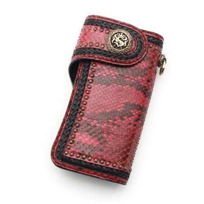 個性的で美しい模様が魅力の蛇革(パイソン)財布 S'FACTORY バイカーズ ウォレット