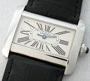 ◇【中古】美品【Cartier カルティエ】タンクディヴァン SM ホワイト W6300255
