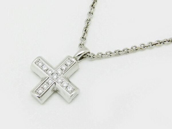 ◇値下げ!【中古】 【BVLGARI ブルガリ】 K18WG グリーククロス ネックレス ダイヤ ネックレス:ネットオフ ブランド専門館