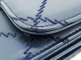 ◇【中古】美品【CHANELシャネル】ウルトラステッチチェーンウォレット財布ネイビー/シルバー金具