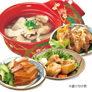 【送料無料】沖縄六角堂/伝統の味シリーズ4点セット/らふてぃ(豚角煮)・軟骨ソーキ・てびち・中味汁