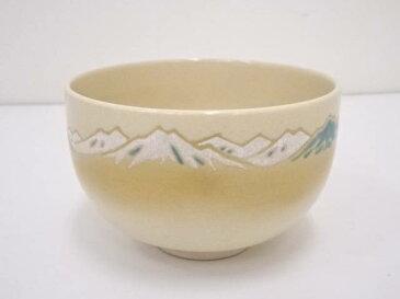 【茶道具】京焼 森里陶楽造 金彩色絵遠山茶碗【送料無料】