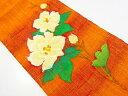 リサイクル 手織り真綿紬花模様織り出し名古屋帯【送料無料】[和服 和装 着物 きもの 帯 おしゃれ かわいい]