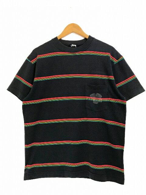 トップス, Tシャツ・カットソー OZ 80s STUSSY Border Pocket SS Tee M OLD STUSSY T T