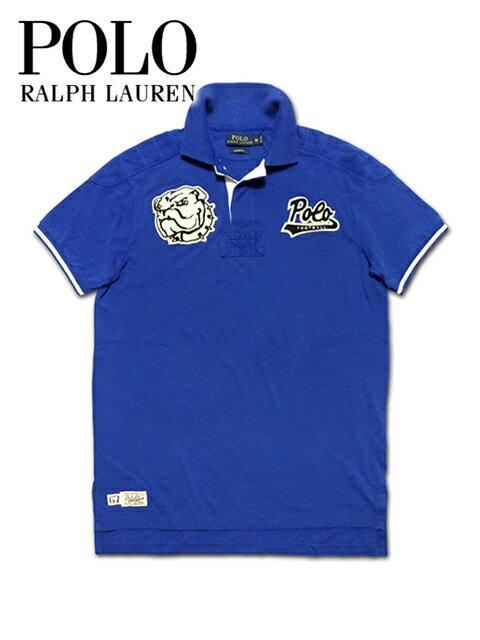 """【送料無料】【あす楽対応】【楽ギフ_包装】【メンズ ポロシャツ・ヴィンテージブルー】Polo Ralph Laurenポロ ラルフローレン【S M L XL】和柄""""ブルドッグ刺繍ワッペンがポイントのヴィンテージポロシャツ"""""""