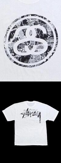 【送料無料】ステューシーコラージュロゴプリントTシャツ