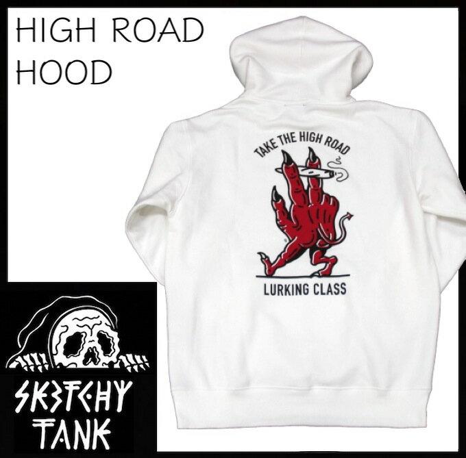 トップス, パーカー LURKING CLASS HIGH ROAD HOOD SKETCHY TANK Pullover SKATE TATOO WHITE