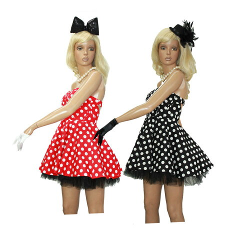 ポイント16倍 ワンピース ドレス ベアワンピース ダンス 衣装 ボリューム スカート ミニー コスプレ ドット 水玉 柄 レッド・ブラック